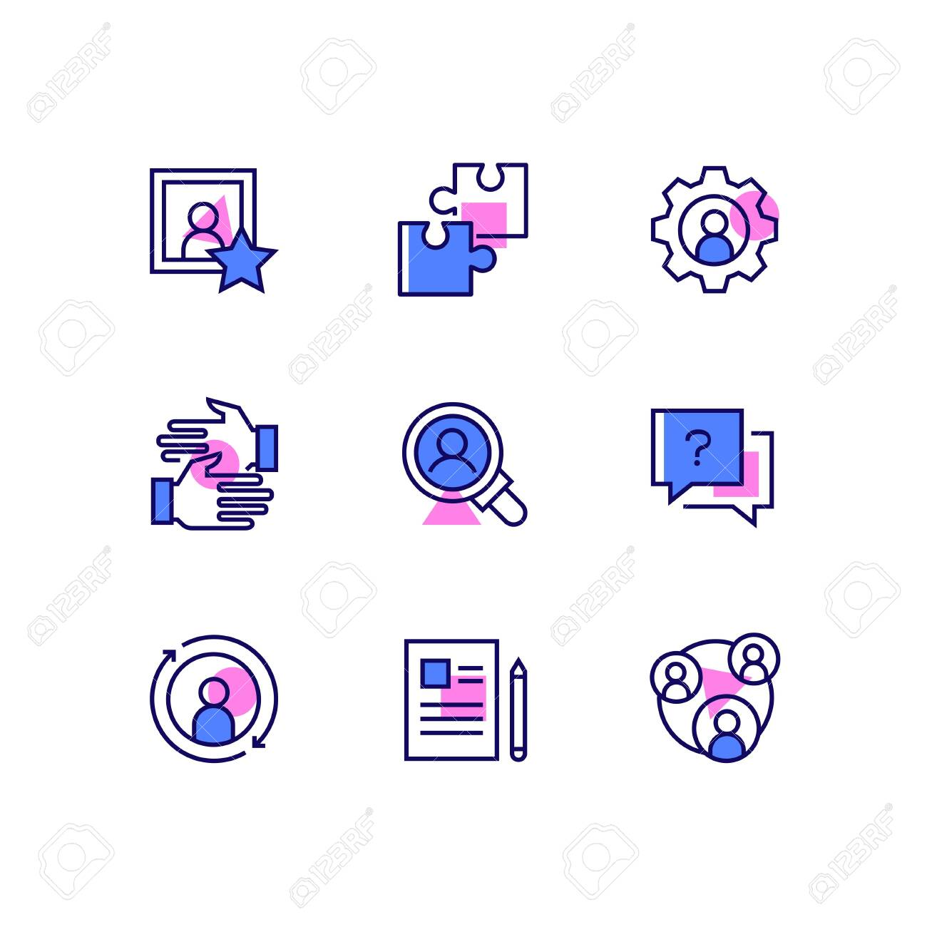 Business and management - line design style icons set. Images of puzzle pieces, gear, handshake, magnifying glass, question mark, refresh symbol, paper and pen, team. Human resources concept - 128175906