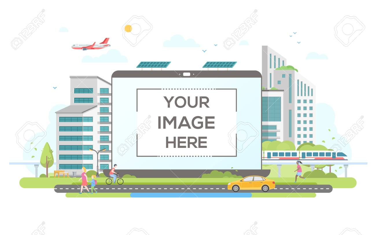Eco-friendly housing complex - flat design style vector illustration on white background. Lovely cityscape with skyscrapers, solar panels, car, train, citizens. A laptop with place for your image - 128176000