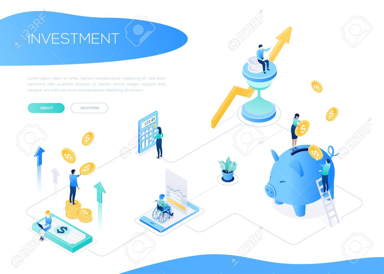 Investment concept - colorful isometric vector web banner on white background with copy space for text. A header with male, female colleagues standing on coins stack. Images of piggy bank, calculator - 132708104