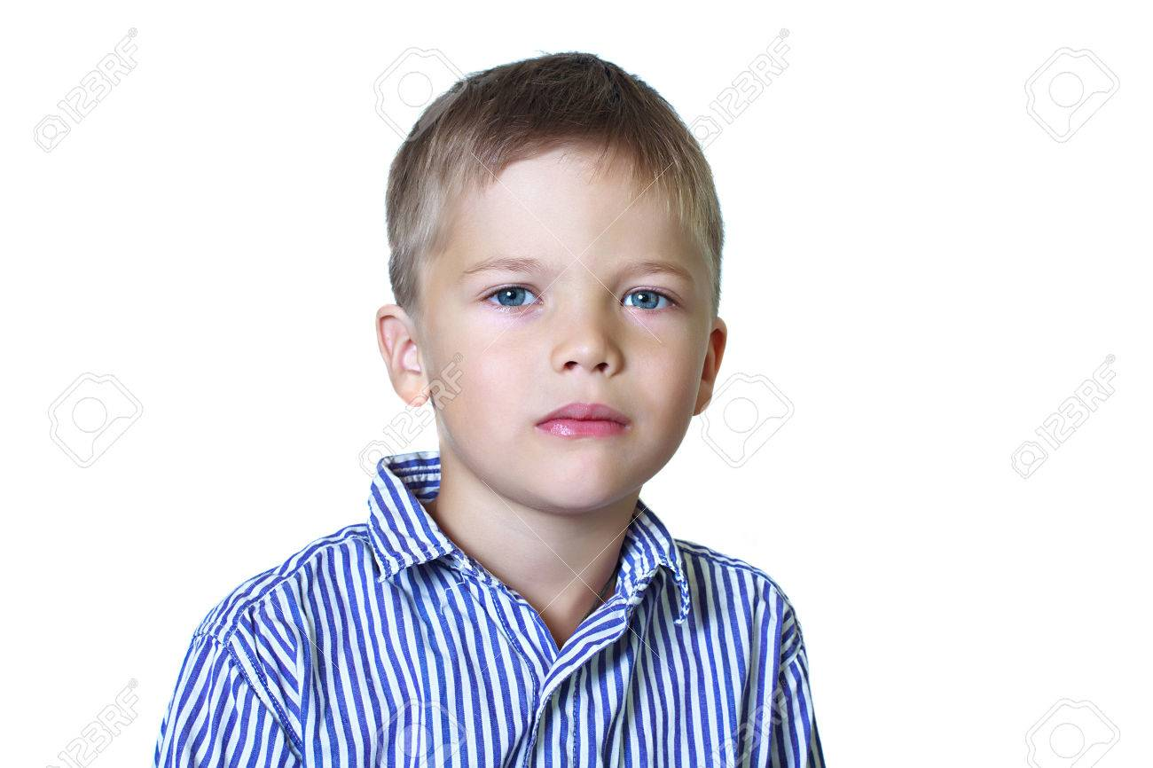 Calm Portrait Of 6 Year Old Boy Stock Photo Picture And Royalty