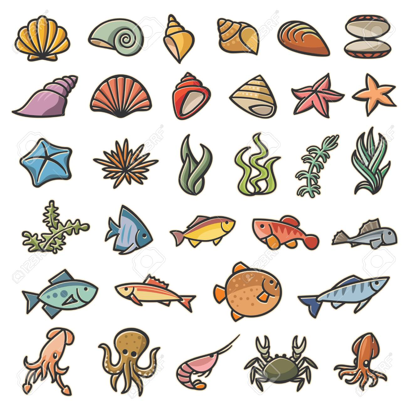 Marine sea symbols colorful set of 32 images - 143617206