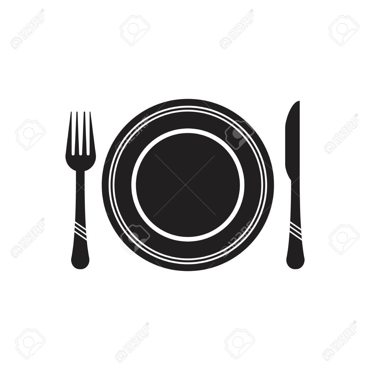 Cutlery vector icon illustration signCutlery and Kitchen Set Icon Design Template - 134369496