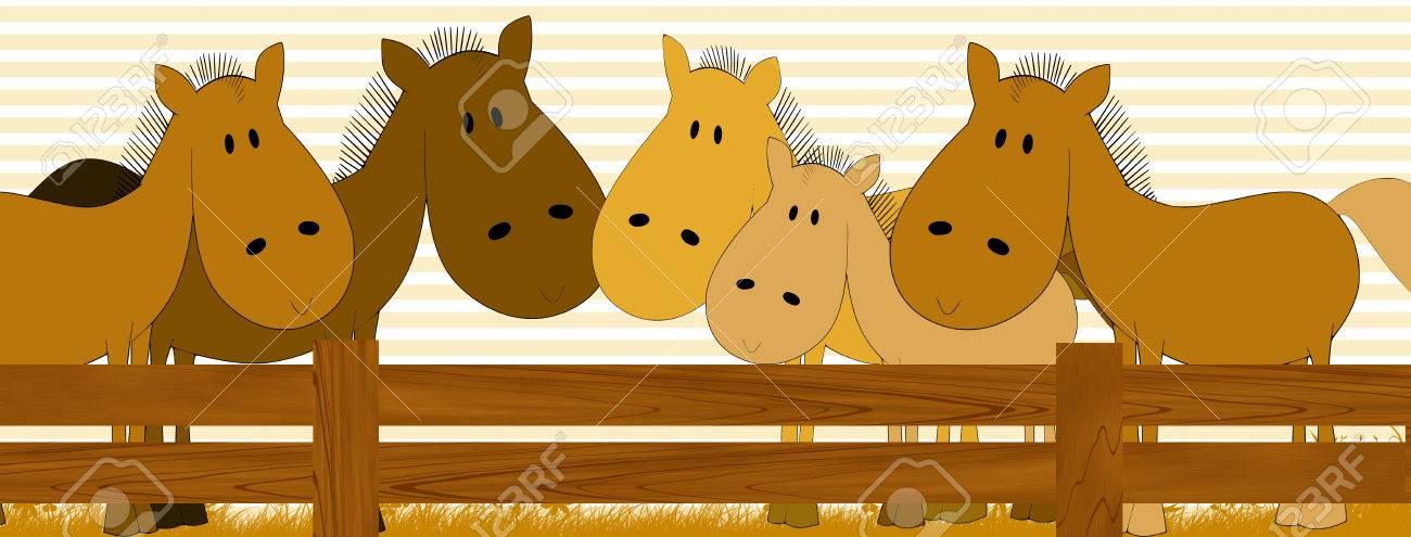 Kid Gästebuch Mit Pferden - Bilderrahmen Für Kinder Lizenzfreie ...