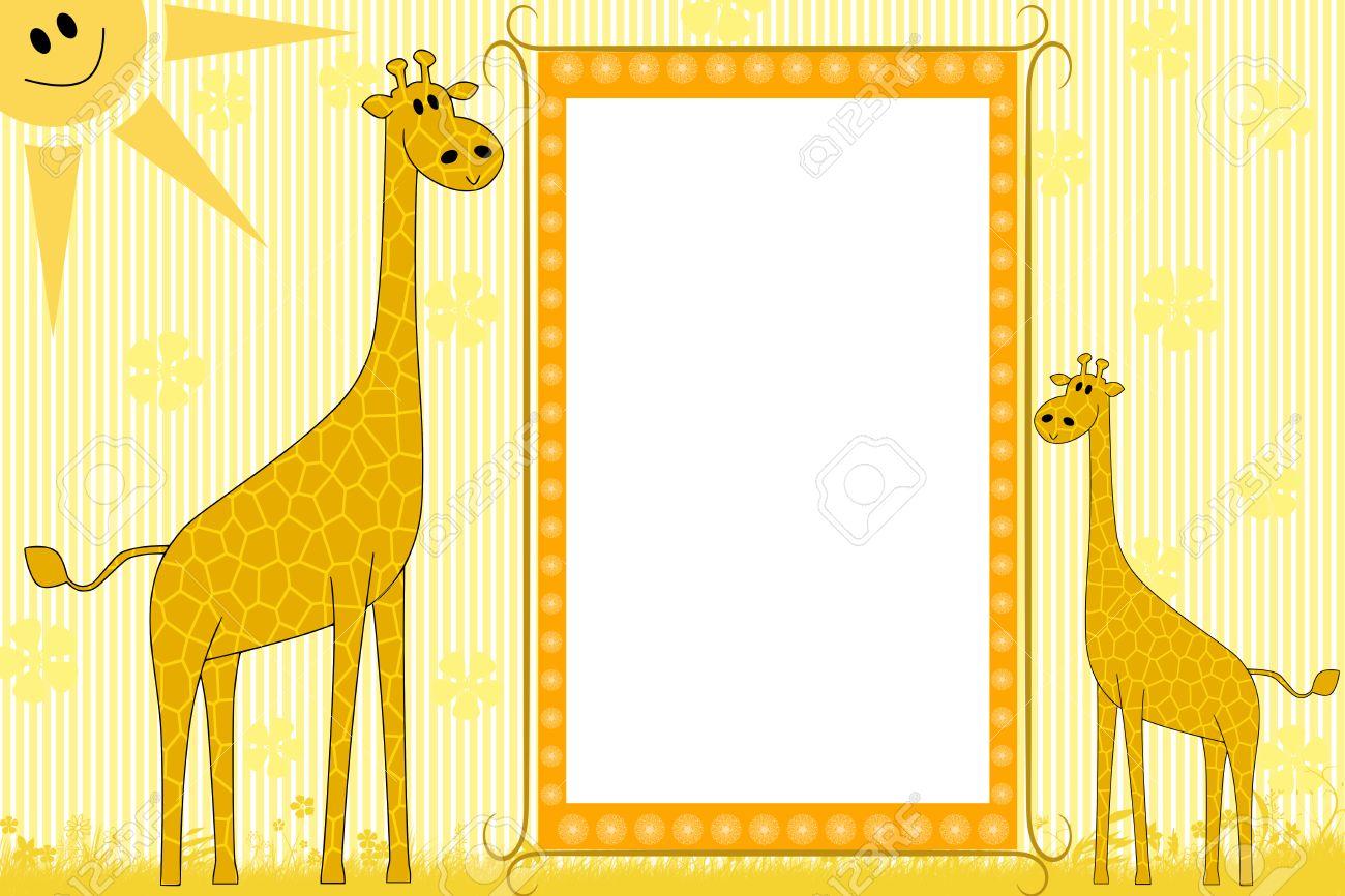 Kid Scrapbook Mit Giraffen - Bilderrahmen Für Kinder Lizenzfreie ...