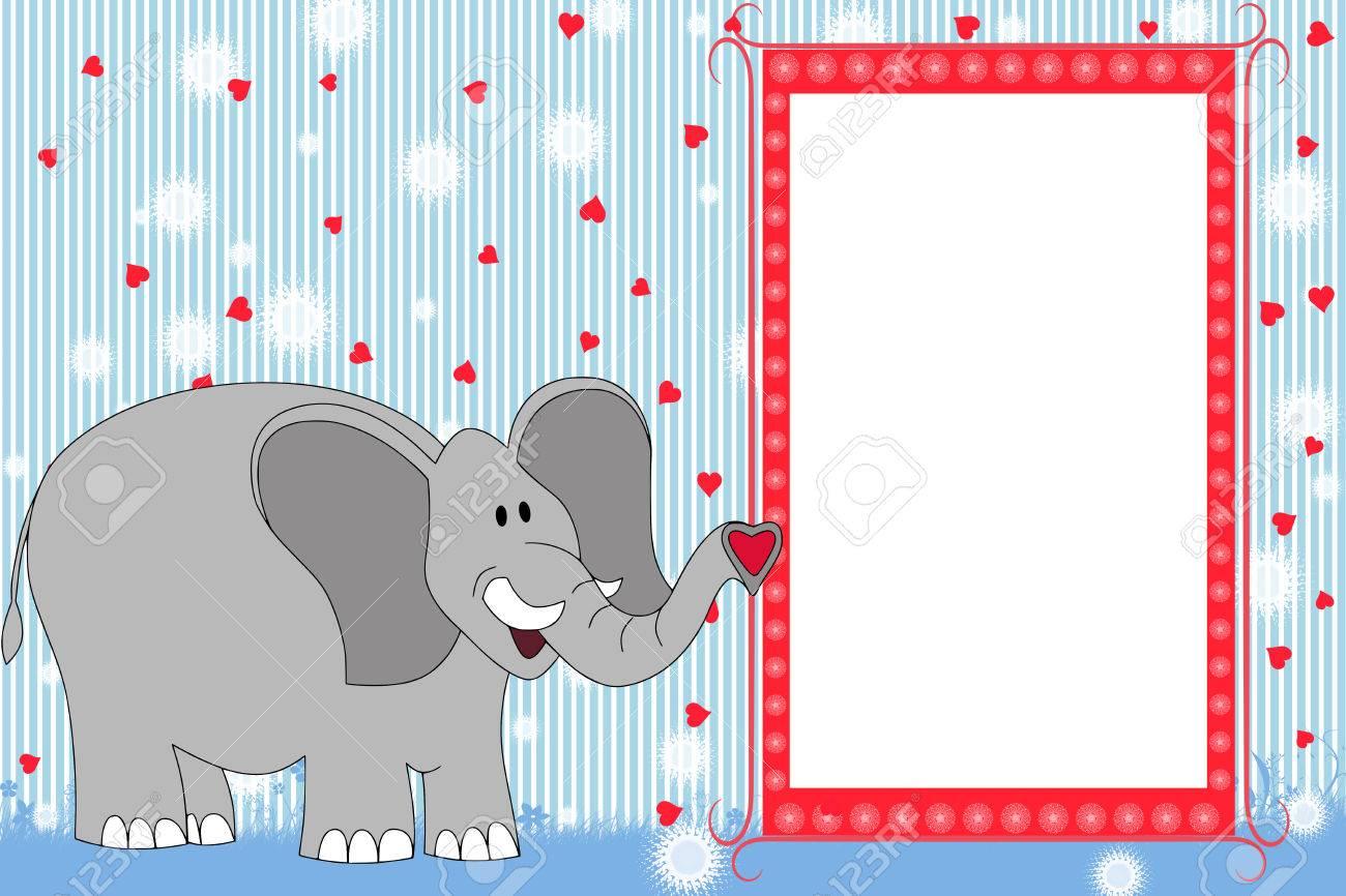 Kid Scrapbook Mit Elefanten - Bilderrahmen Für Kinder Lizenzfreie ...