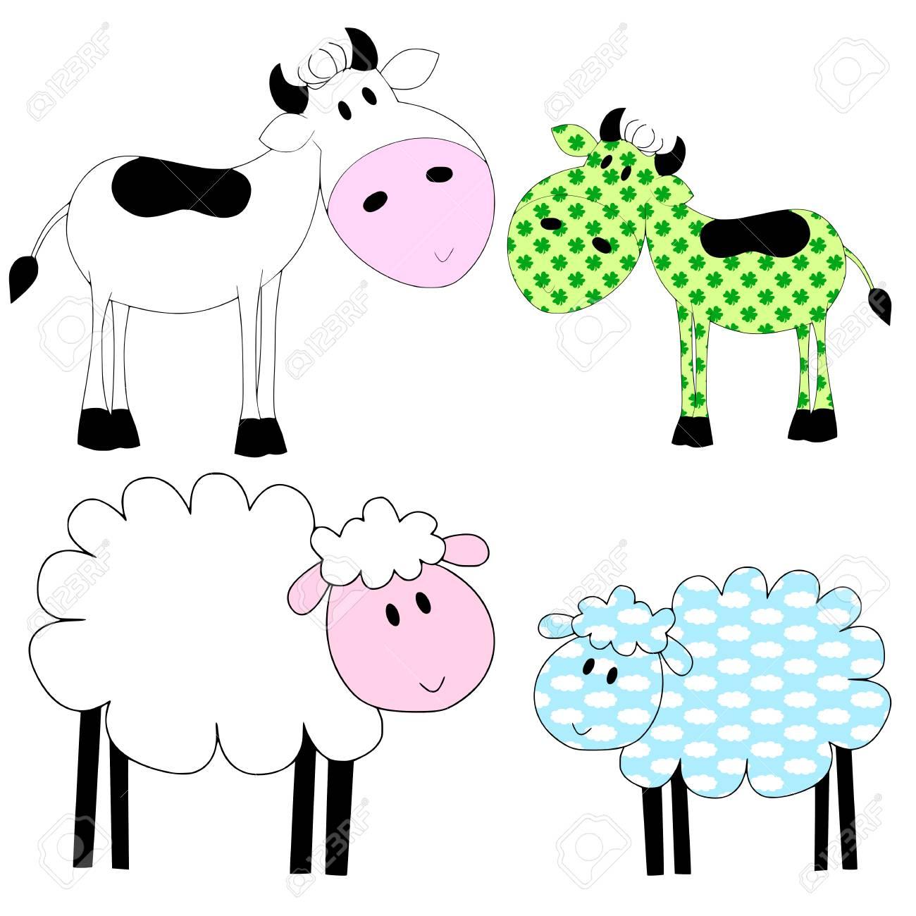 Kühe Und Schafe - Weiß Und Patchwork Lizenzfreie Fotos, Bilder Und ...