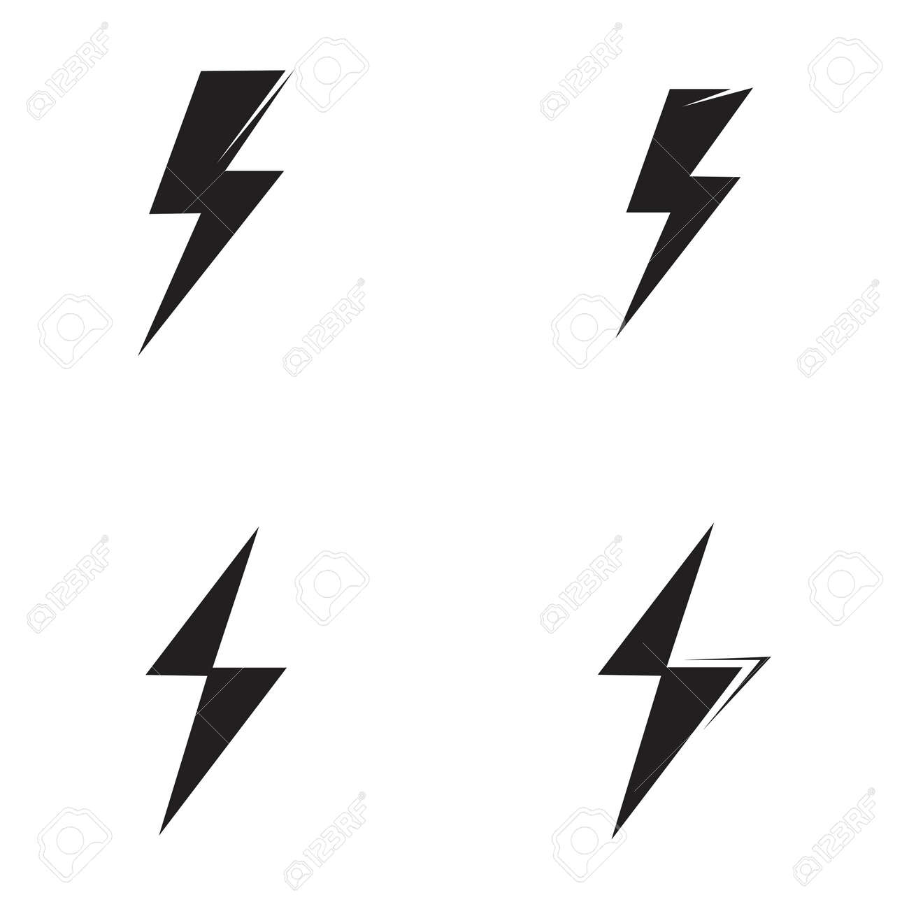 Thunder and Bolt Lighting Flash Icons Set. Flat Style on Dark Background. Vector - Vector - 166651806
