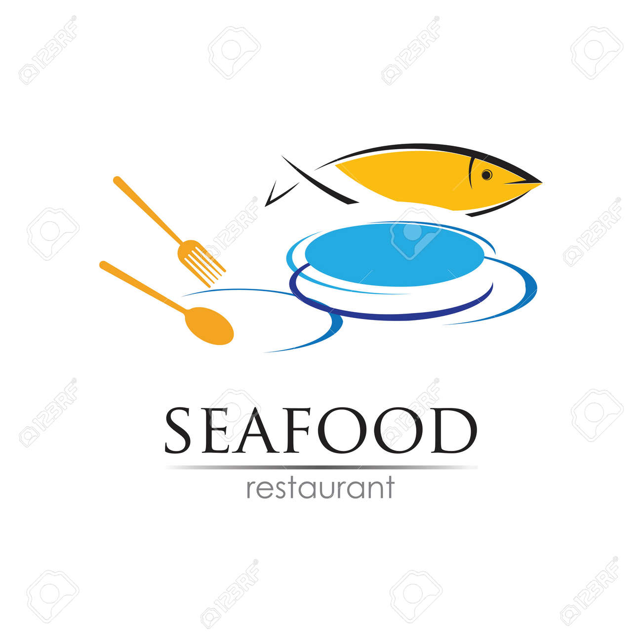 Seafood restaurant design. Fish, Food and Beverage concept. Vector template - 166651839