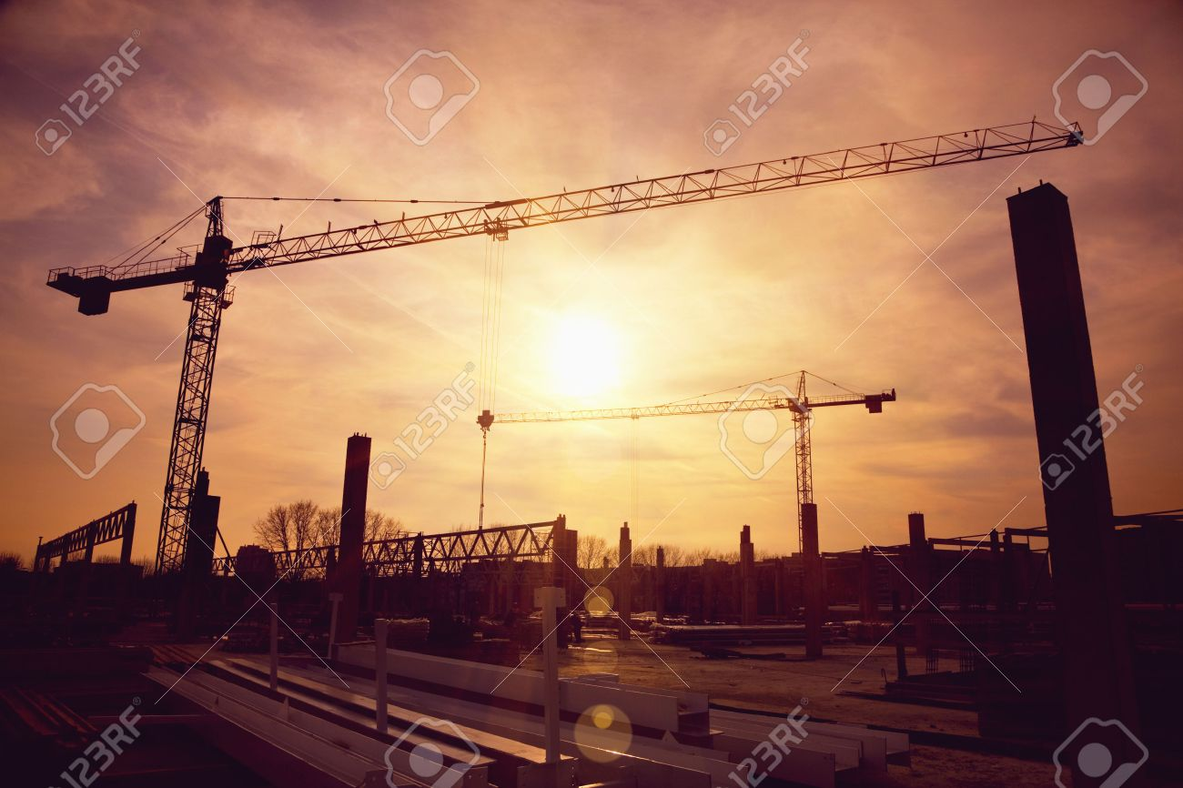 tower cranes at construction site Stock Photo - 46592753