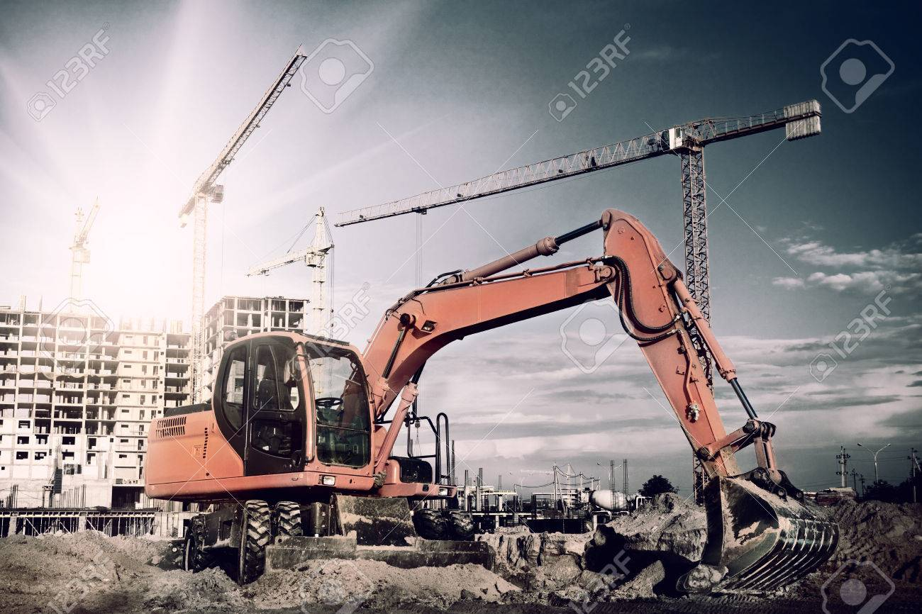 excavator on construction site - 46592699