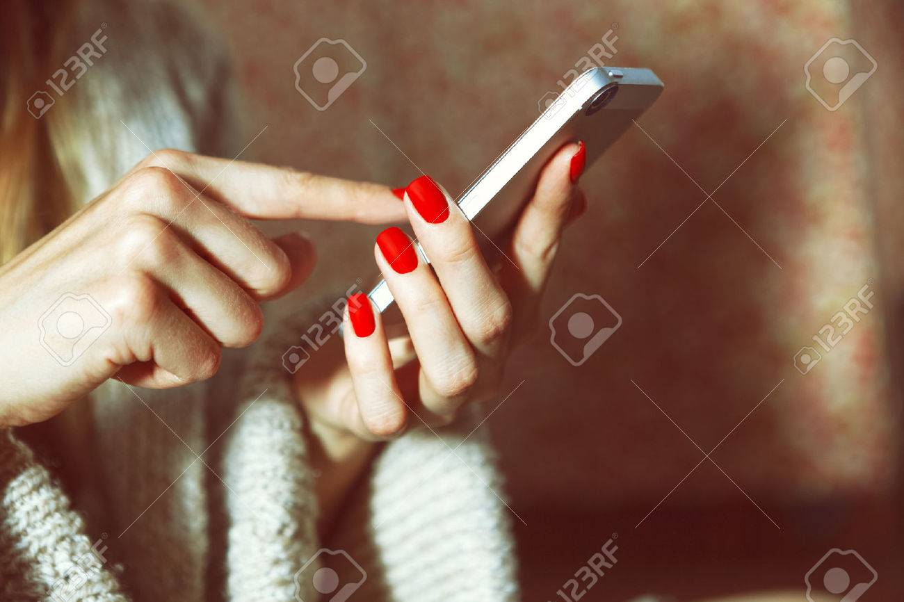 hands with smartphone touching screen and using app Stock Photo - 47632565