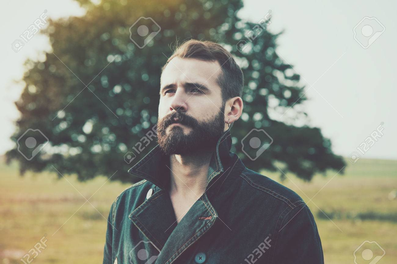 portrait of handsome bearded man with natural background Stock Photo - 59190539