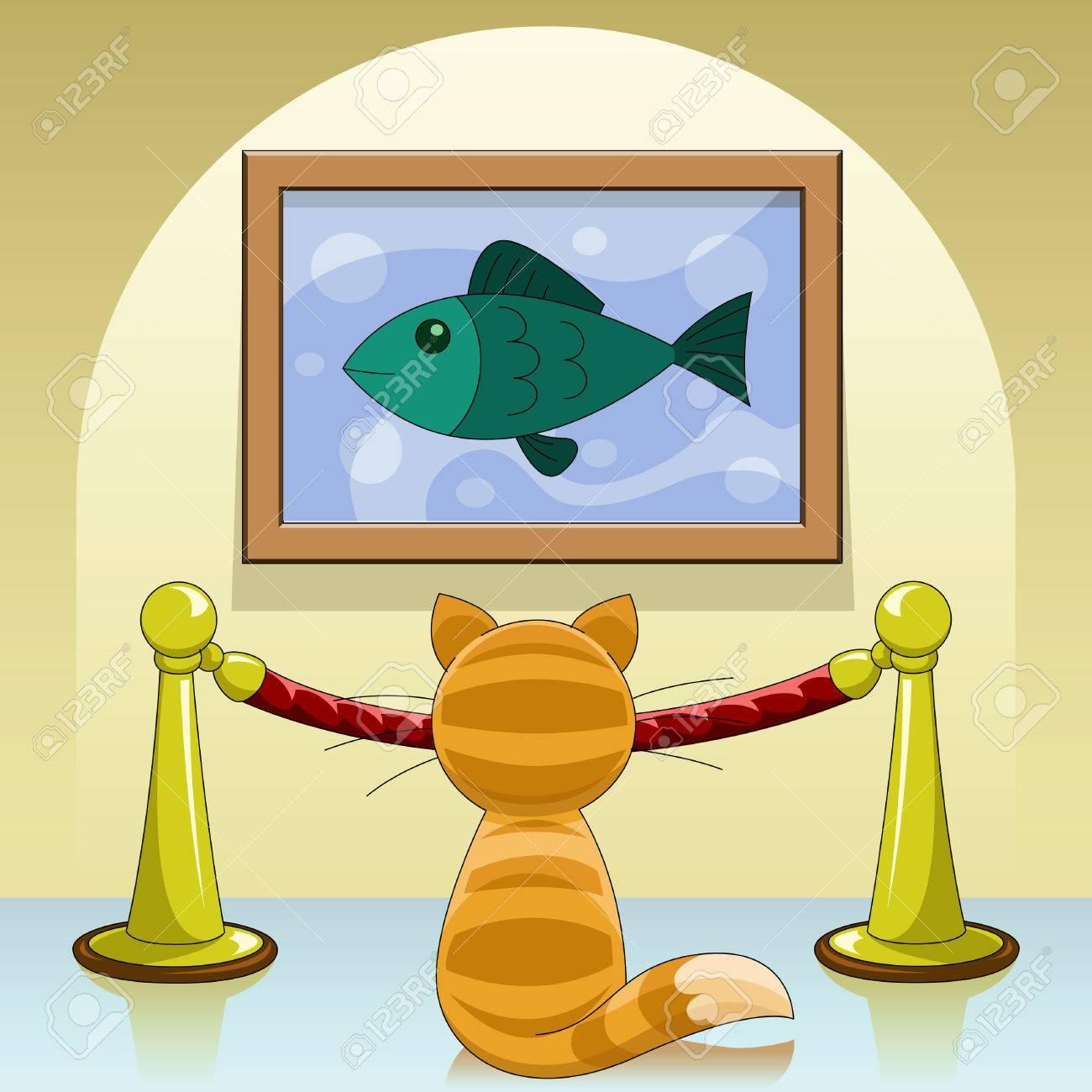 Cartoon cat in picture gallery Stock Vector - 7729996