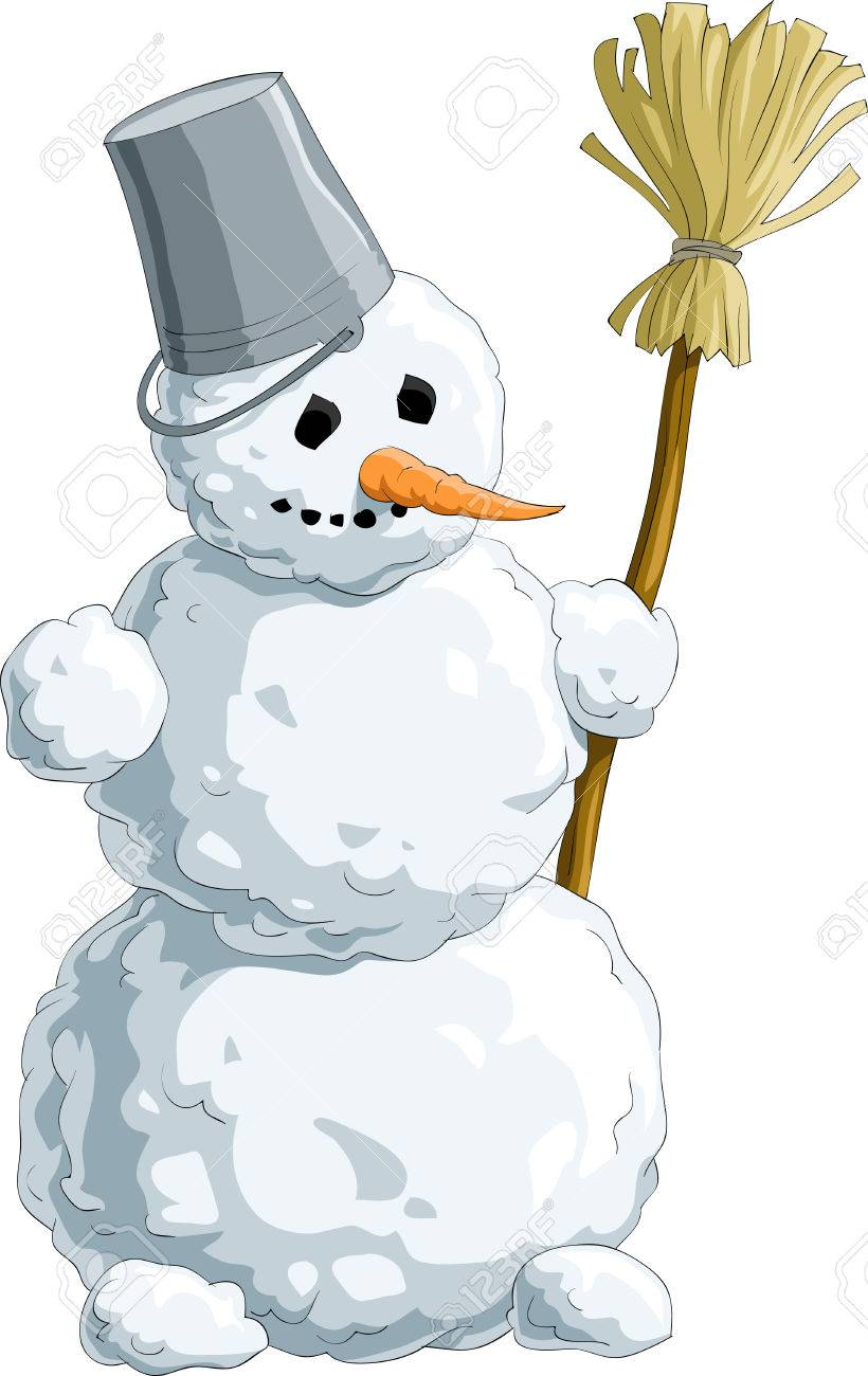 Snowman with a broom Stock Vector - 7804902