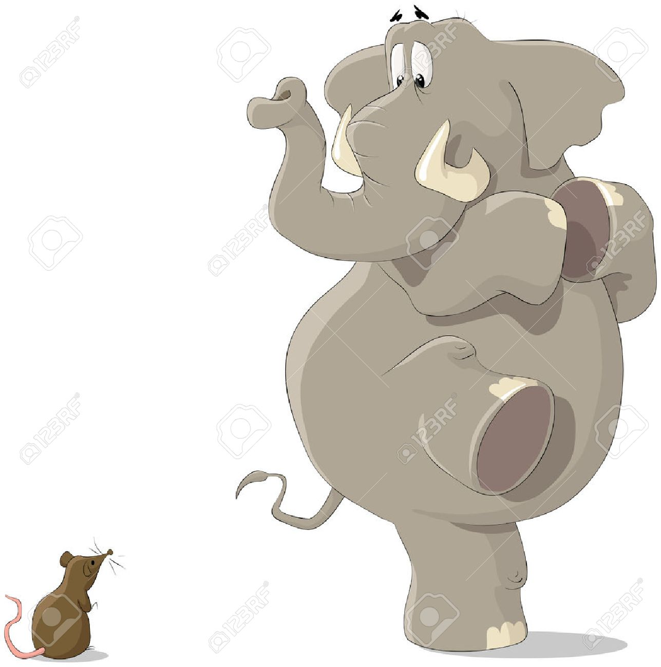 The elephant was frightened of a small mousy Stock Vector - 7804940