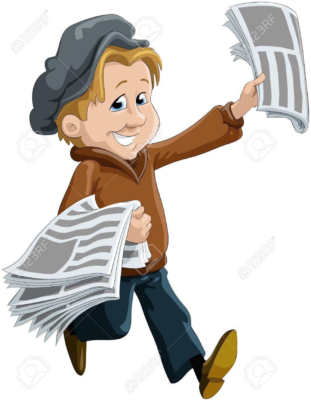 El Niño Mensajero De Periódicos Ilustraciones Vectoriales, Clip Art ...
