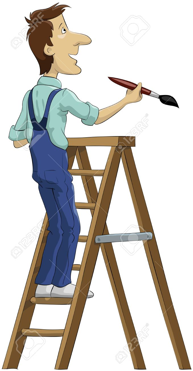The house painter on a stepladder Stock Vector - 7905605