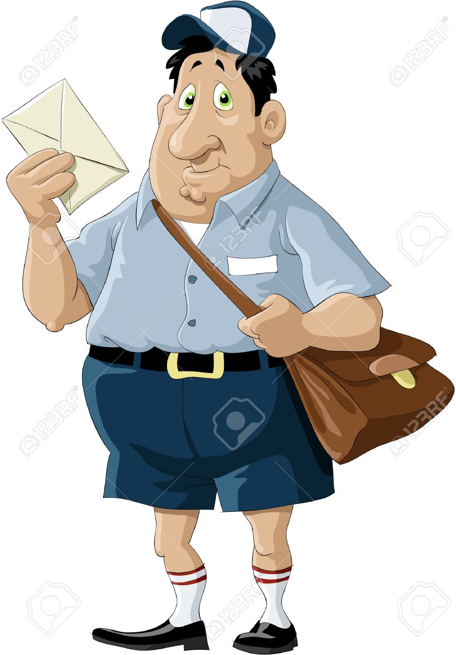 A postman with a bag and a letter Stock Vector - 7905624