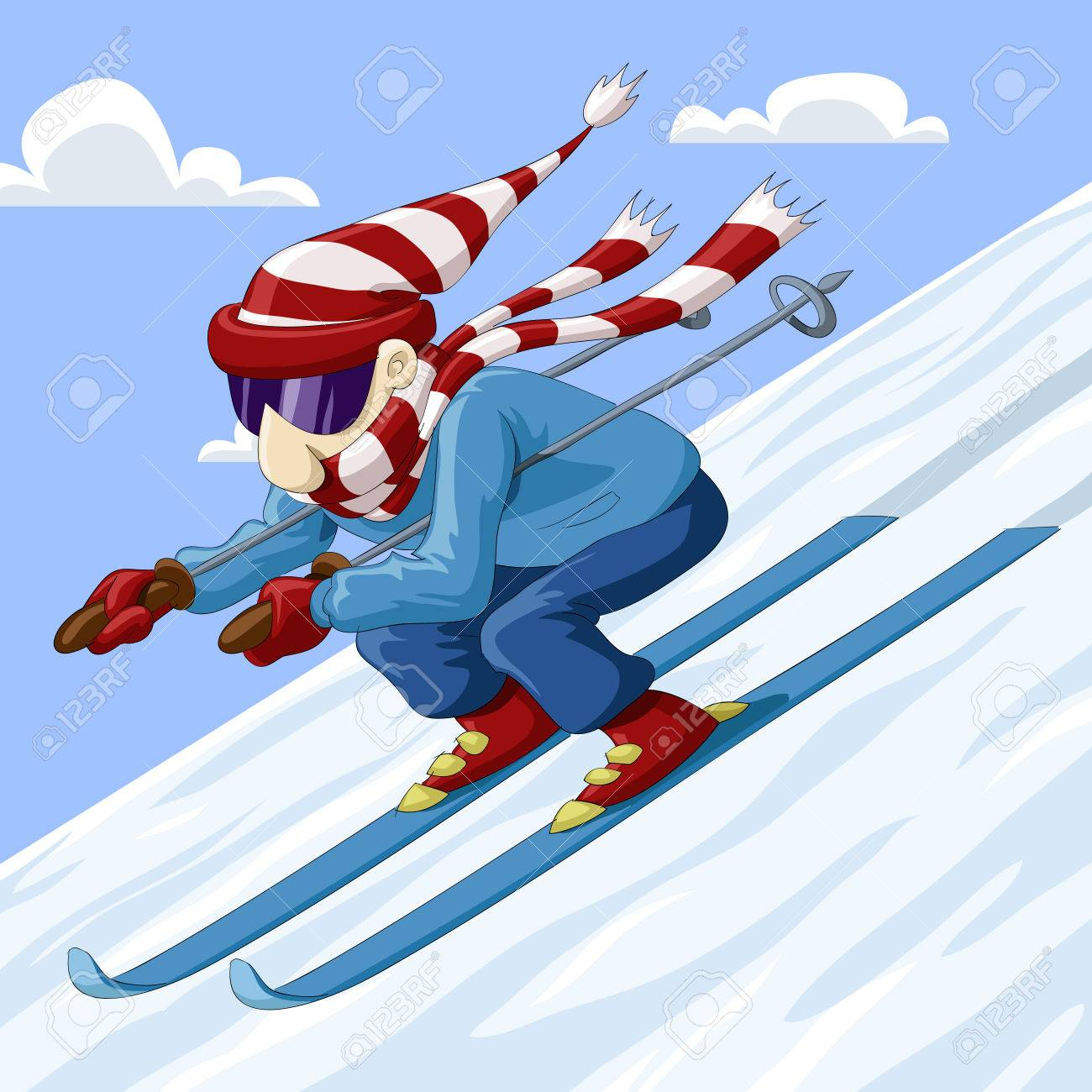 Man descends from the mountain on skis Stock Vector - 7905633
