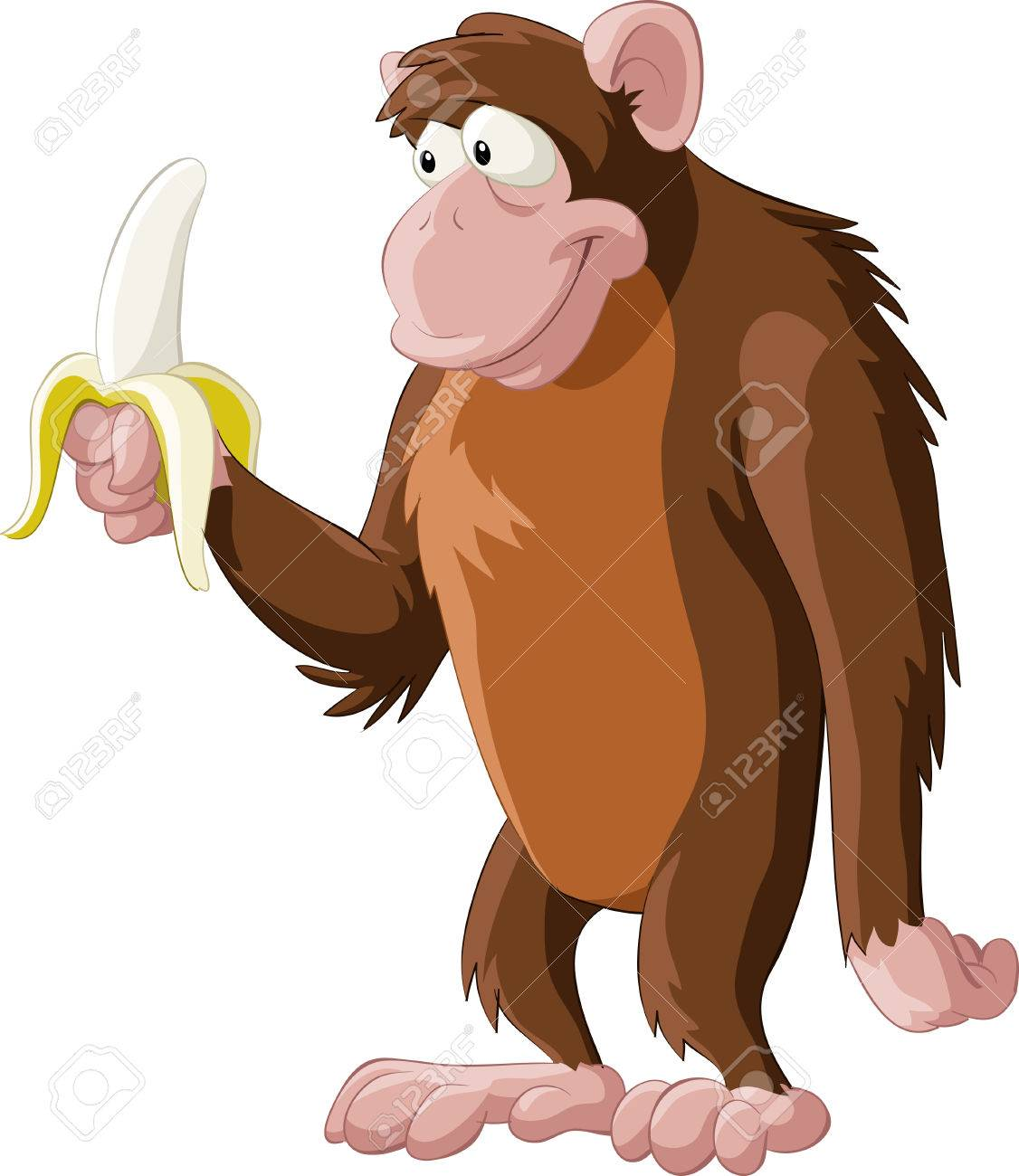 Brown monkey with a banana Stock Vector - 7905641