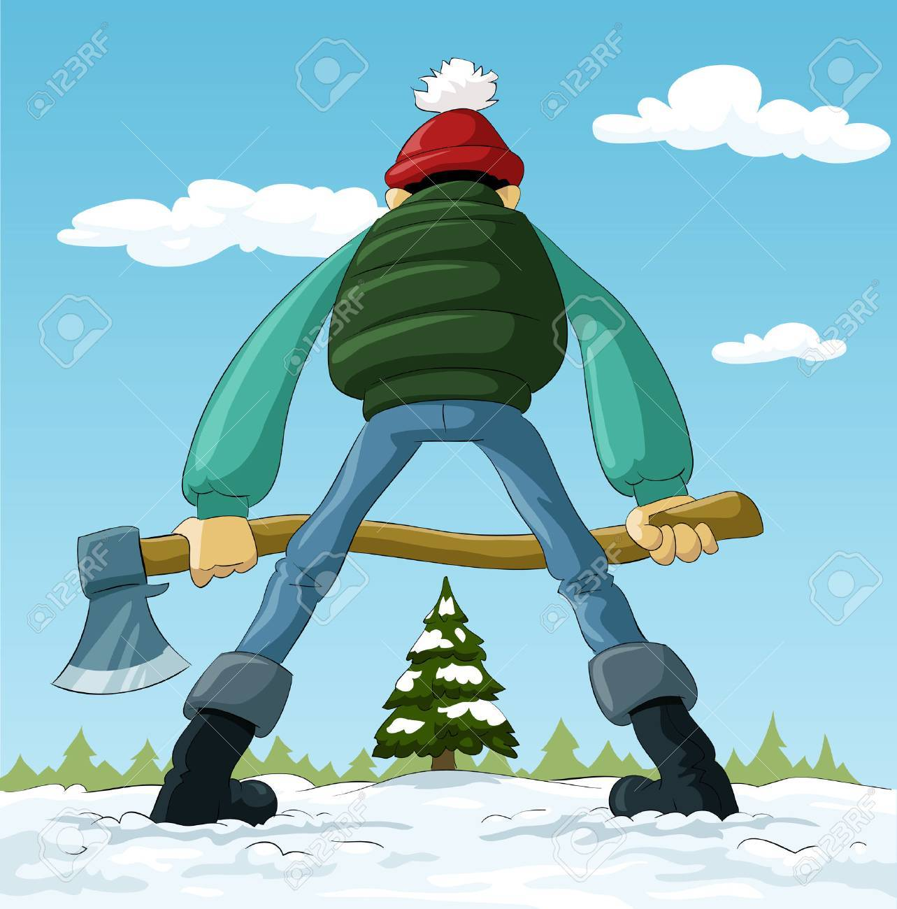 Lumberjack with an ax and a Christmas tree, vector - 7930645