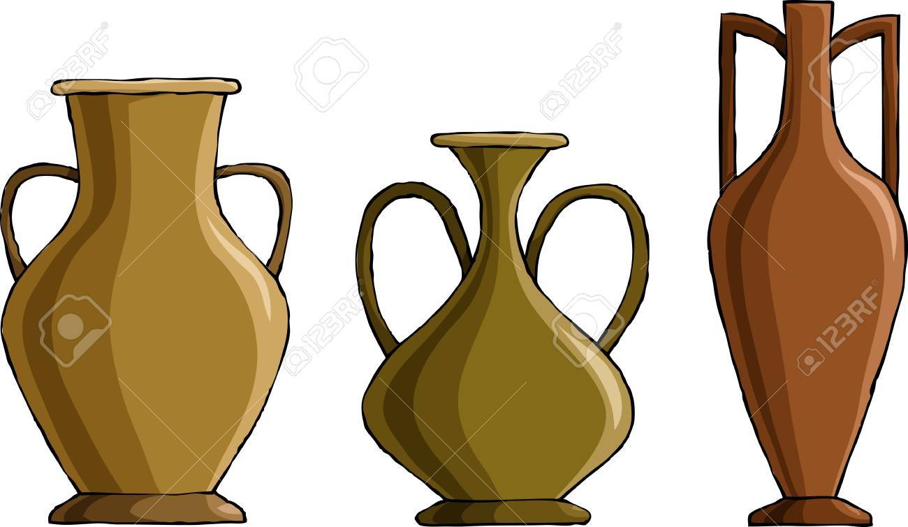 Three amphora on a white background, vector Stock Vector - 9483291