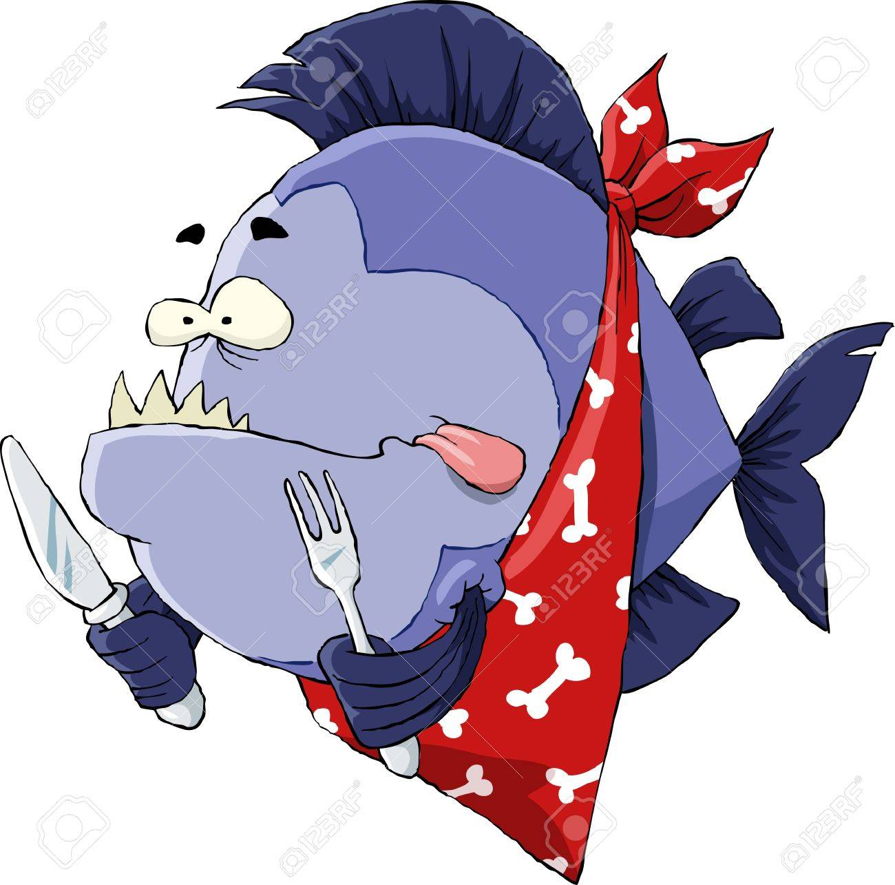 Piranha on a white background Stock Vector - 9529234
