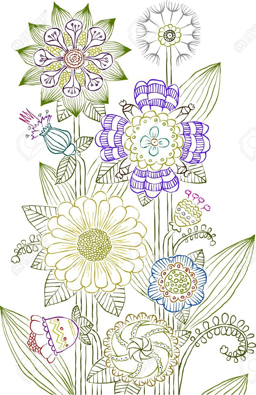 Flowers on a white background, vector illustration Stock Vector - 9617160