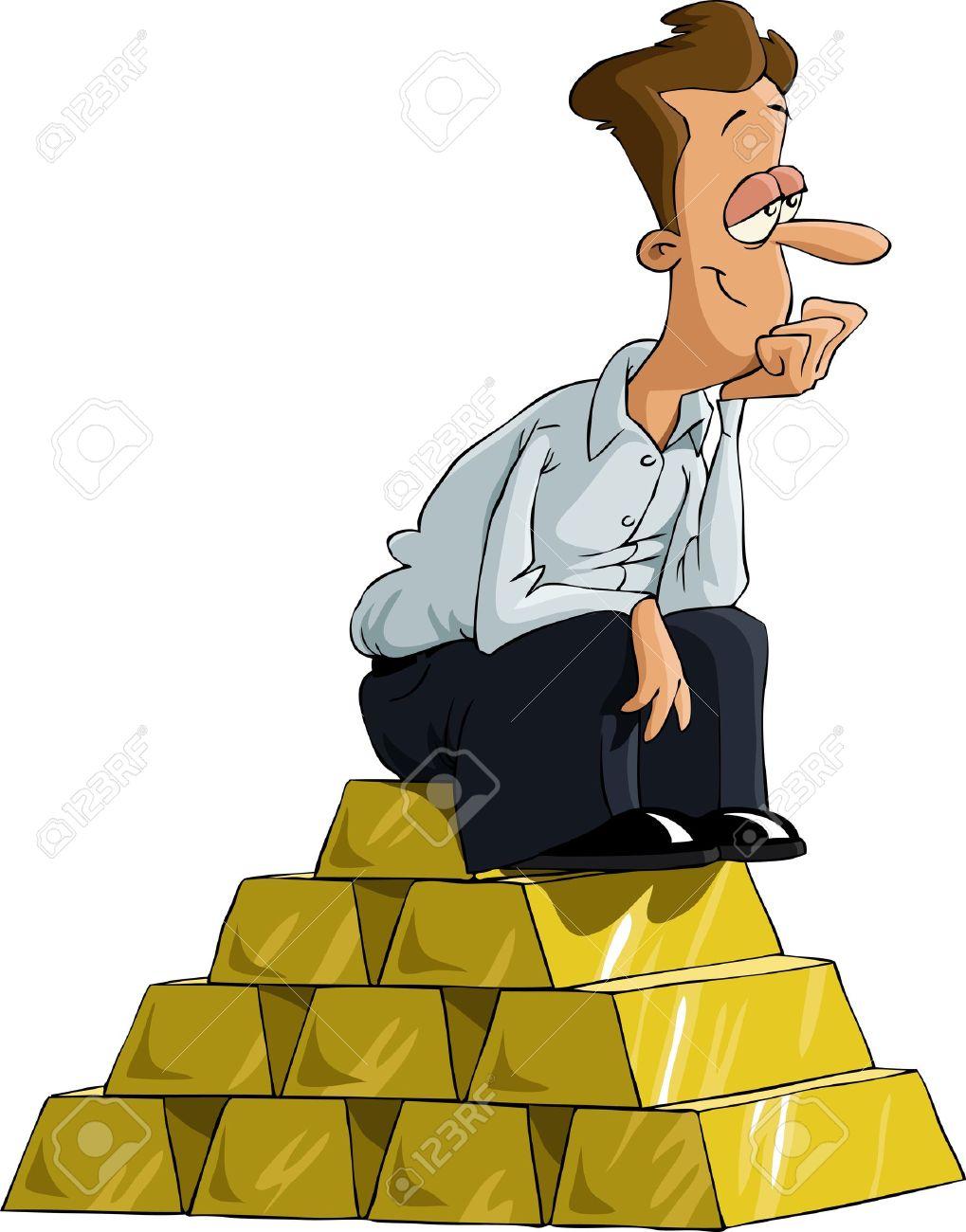 A man sitting on a gold bullion, vector Stock Vector - 10465723