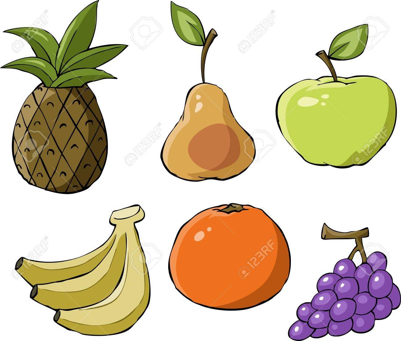 Fruit on a white background, vector illustration Stock Vector - 10525947