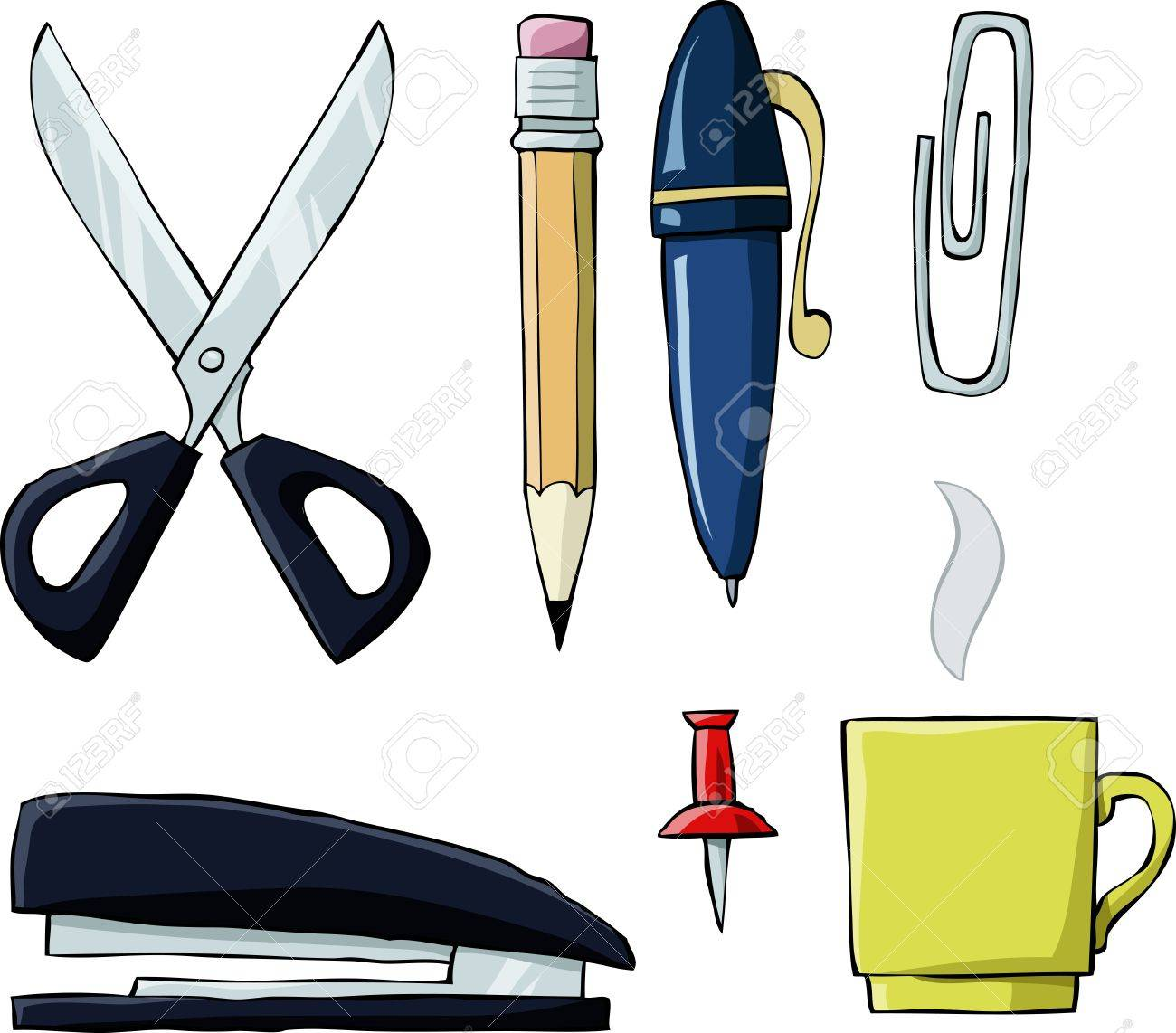 Office Tools On White Background, Vector Illustration Royalty Free ...