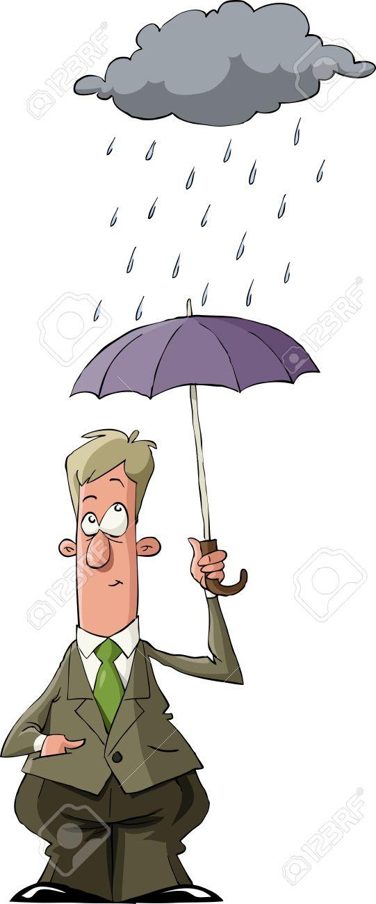A man under an umbrella in the rain, vector Stock Vector - 10658309