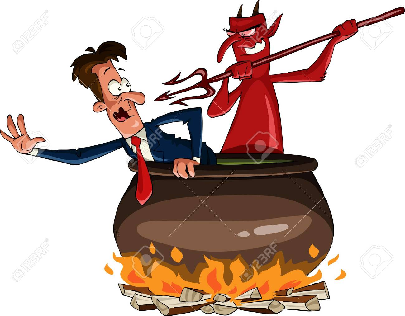 Infernal cauldron with the devil, vector illustration Stock Vector - 10870063