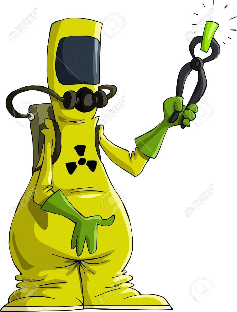 Cartoon man in radiation suit, vector illustration Stock Vector - 10870064