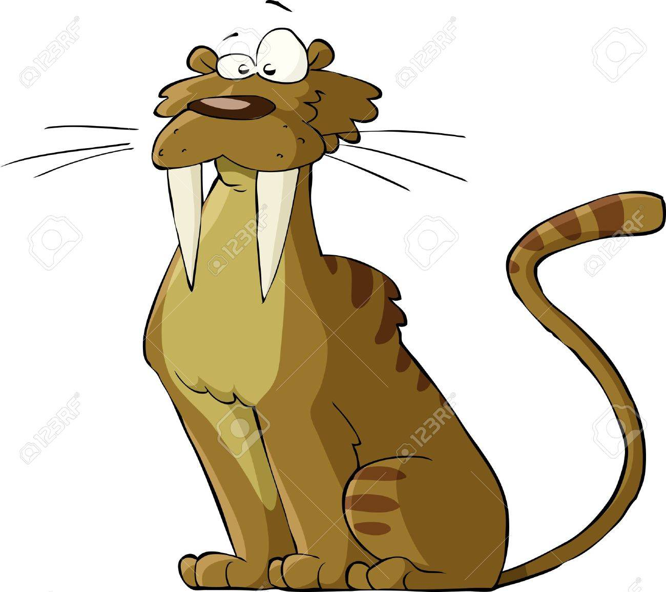 Saber tooth cat on a white background, vector Stock Vector - 11928846