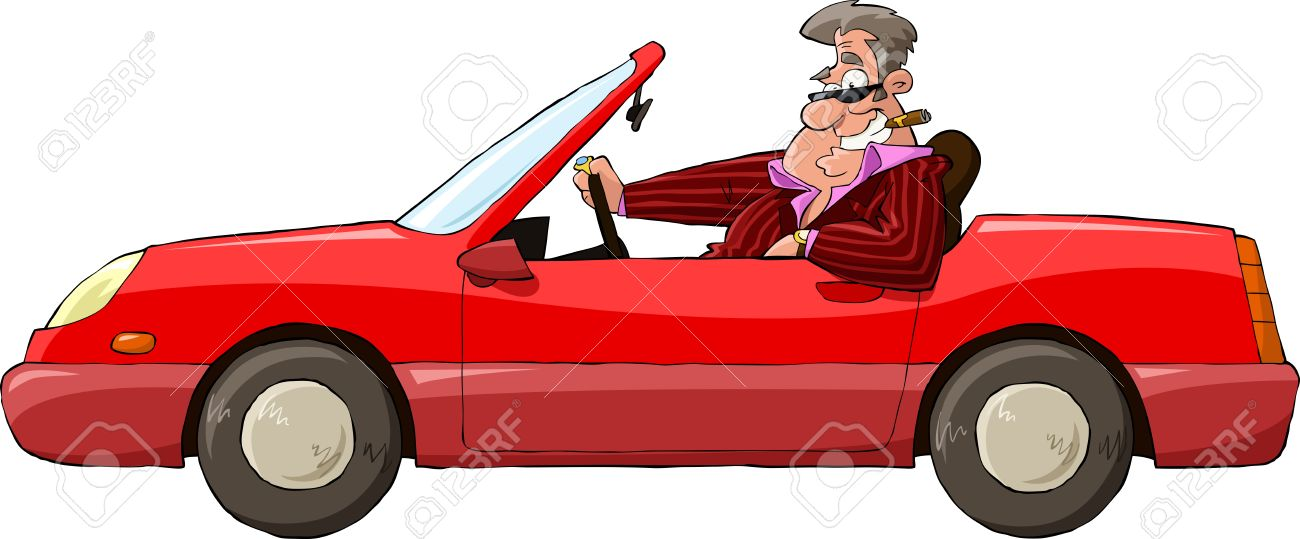 A man in a red car vector illustration Stock Vector - 13233967