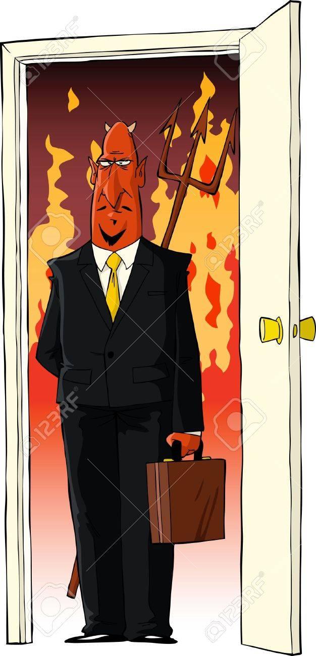 Devil in the door and fire vector illustration Stock Vector - 13630505