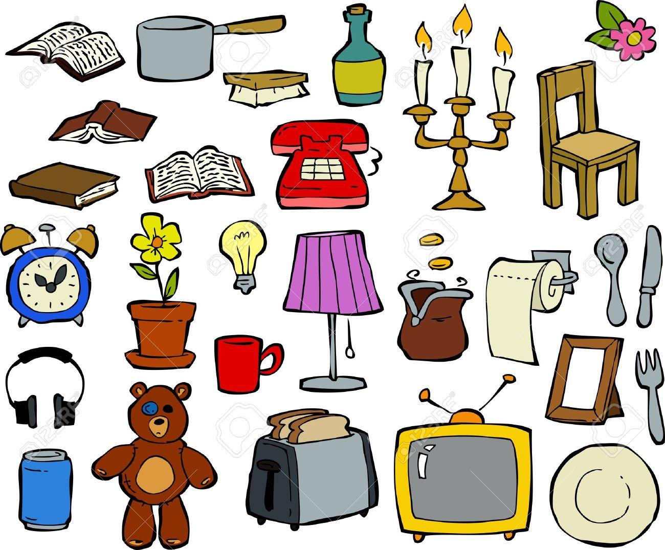 Household items doodle design elements illustration - 14814043