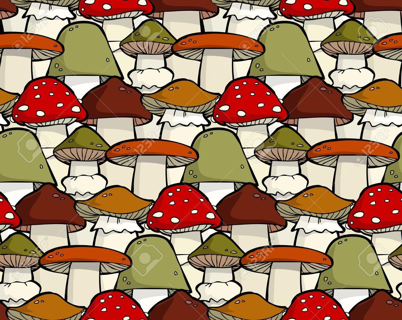 Cartoon seamless background with mushrooms Stock Vector - 15396732
