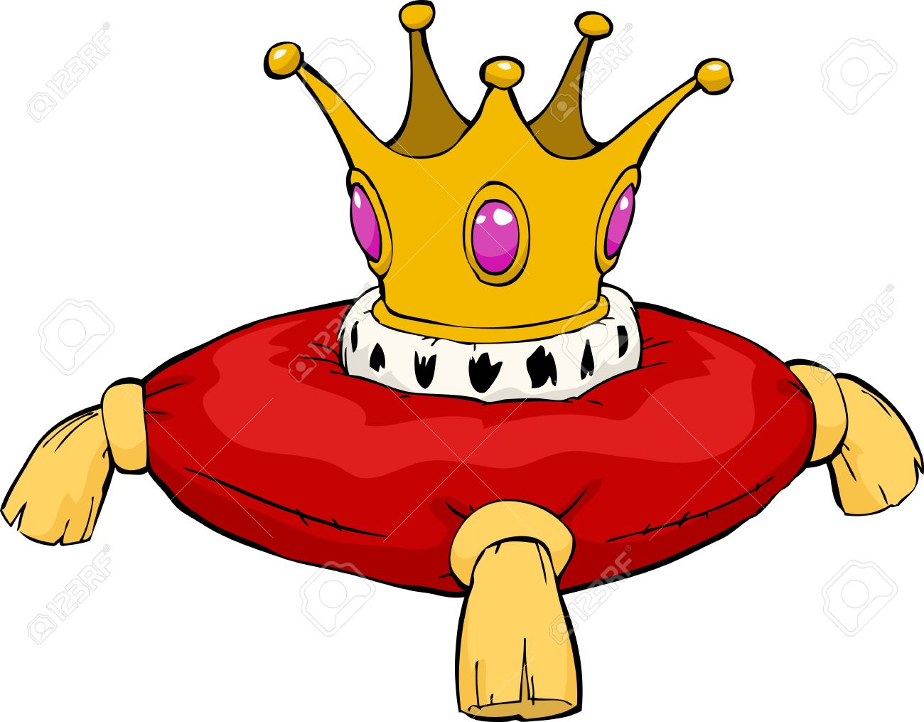 The crown on a red cushion Stock Vector - 15597445