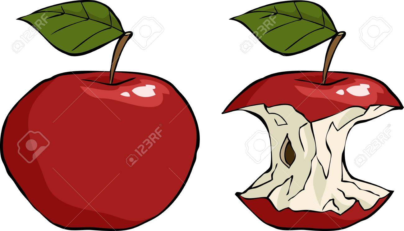 Apple and apple core cartoon vector illustration Stock Vector - 16359291