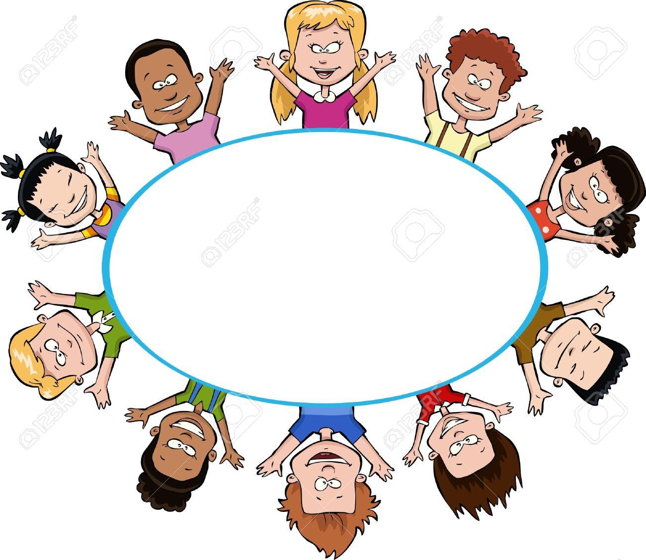 Cartoon children around the frame illustration Stock Vector - 16685613