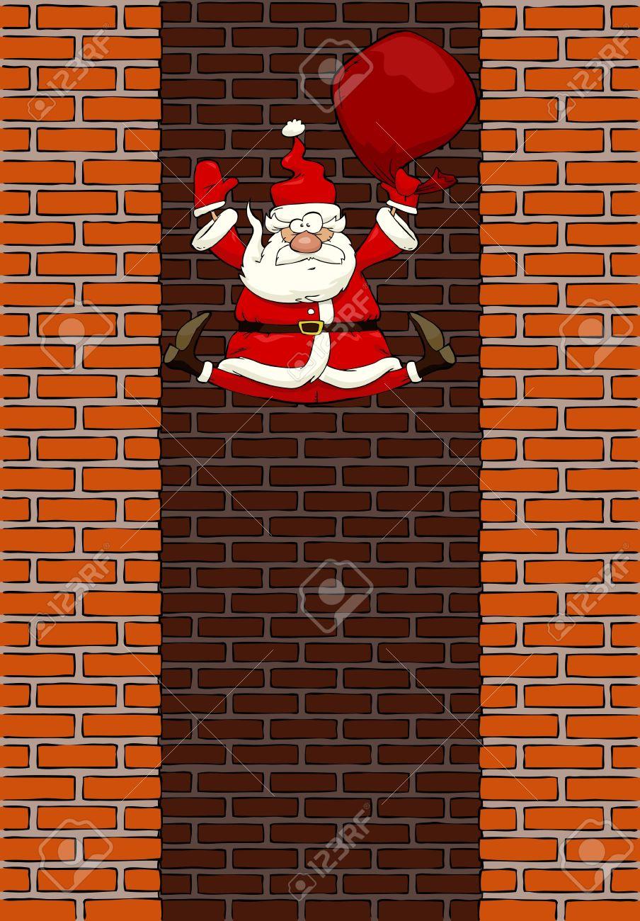 Falling Santa Claus in the chimney illustration Stock Vector - 16685614