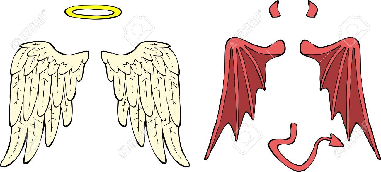 Cartoon Ange Et Démon Ailes Illustration Vectorielle Clip Art Libres De Droits Vecteurs Et Illustration Image 20461241