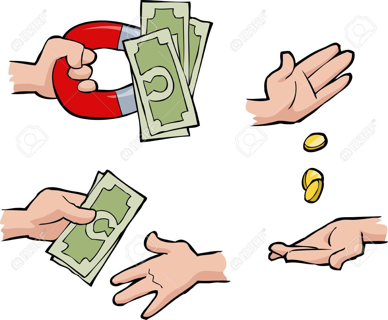 Set of hands with money illustration - 21020251