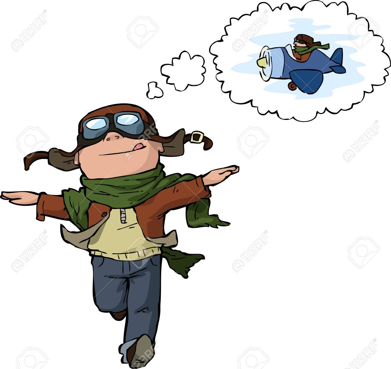 Dreaming young pilot on a white background vector illustration - 27439758