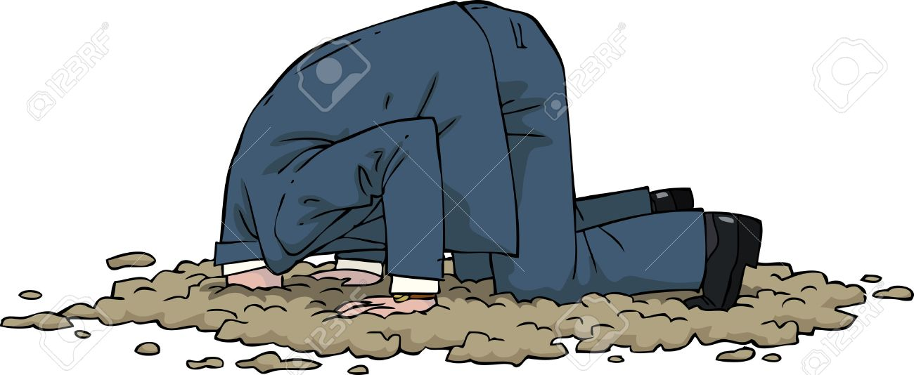 The man buried his head in the sand vector illustration - 35136816