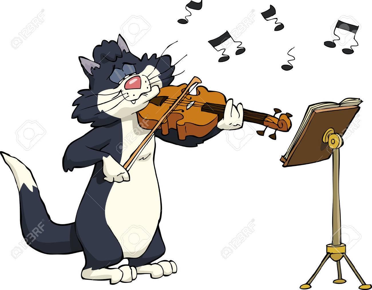 Cartoon cat playing the violin vector illustration - 35293682