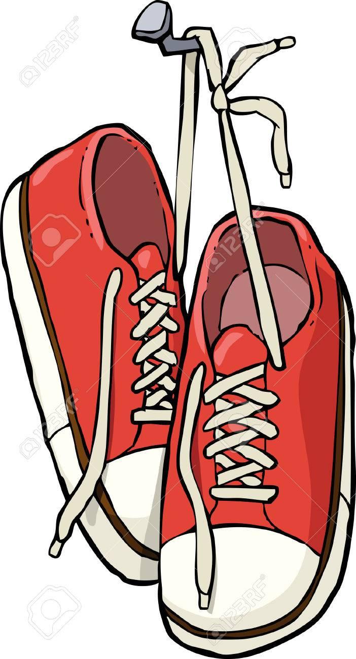 cartoon shoes on a nail vector illustration royalty free cliparts