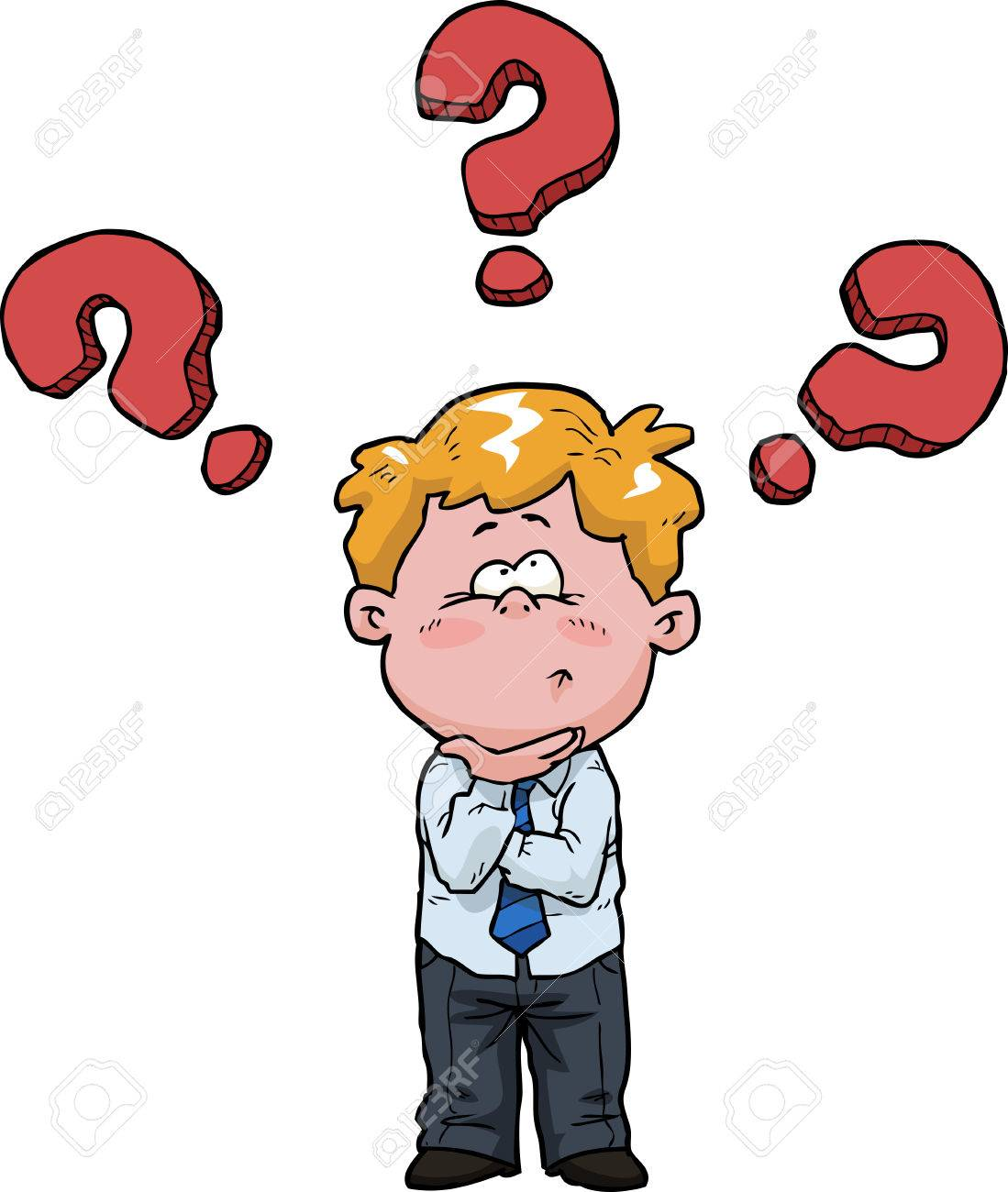 The boy is thinking on a white background vector illustration - 41698537